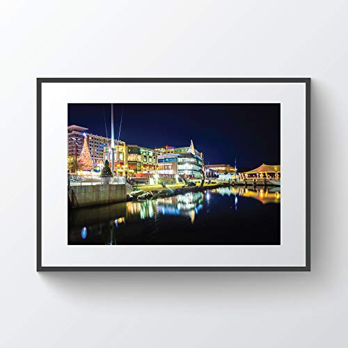 C-US-lmf379581 Buildings Along The Potomac River Waterfront at Night In National Harbor Maryland Photo Print Metal Canvas Framed