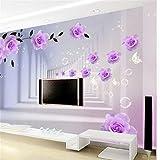 Fushoulu Benutzerdefinierte 3D Abstrakte Fototapete Europäischen Lila Rosen Korridor Wohnzimmer Schlafzimmer Tv Hintergrund Wandbild Tapete Rolle-400X280Cm
