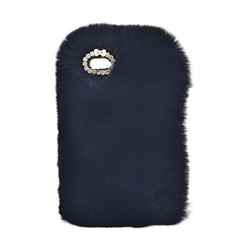 Sunroyal iPhone 5 5S SE Coque Fluffy Villi fourrure en peluche Laine Housse En Peluche De Lapin Breloque fantaisie Fourrure artificielle de lapin Douce Peluche Case Étui de Protection Arrière Pratique Noir