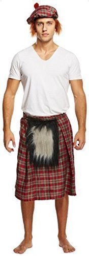 Mens Scottish Kilt with Sporran Stag Do Fancy Dress Costume Outfit by Fancy Me
