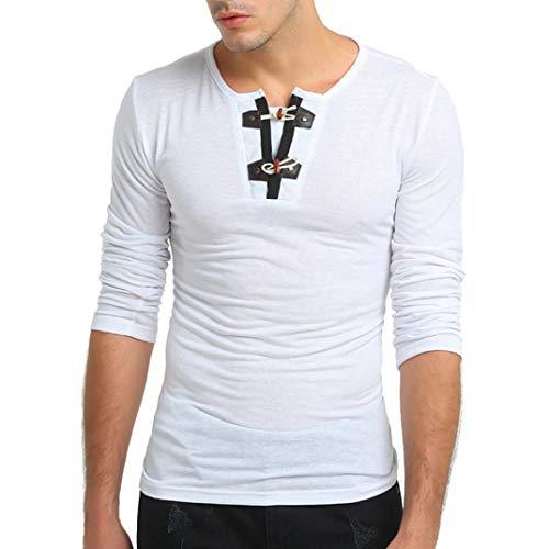 Jiameng top casual da uomo - moda uomo giacca a maniche lunghe corna solido slim nodo maglietta di stampa pure pulsante colore a maniche lunghe pullover felpe camicetta superiore