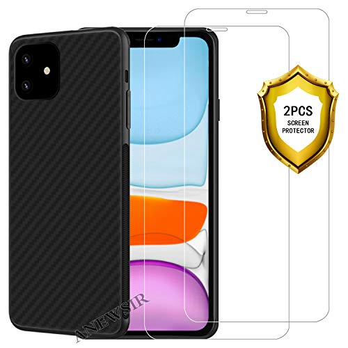 ANEWSIR Coque pour iPhone 11 2019 6.1 Coque Silicone Liquide Anti-Rayure avec 2 Autocollants de Protection Transparents, Housse Protection Silicone Anti-Choc Gel Case pour iPhone 11 2019 - Noir