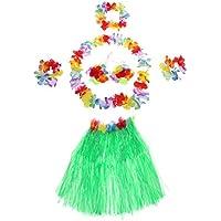 Chytaii Falda de Mujer Adulto Falda de Hierba con Flores Hawaiana Accesorios para Festivales de Danza Falda de Playa Falda de Hierba de Baile Conjunto de Seis Piezas Multicolor 40cm