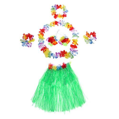 Demarkt Hawaii Party Kostüm Set von 5 Stück,Hawaiian Kostüm,Hawaii Rock,Hula Rock,Blume Stirnband,Blumen Armband Halskette Girlande, Mädchen Zubehör für Hula Luau Party, Einheitsgröße size 40cm (Grün)