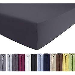 ENTSPANNO Jersey-Luxus-Spannbettlaken für Wasser- und Boxspringbett in Grau (Anthrazit) aus Baumwolle. Spannbetttuch mit Einlaufschutz, 180 x 200 | 200 x 200 | 200 x 220 cm, bis 40 cm hohe Matratzen