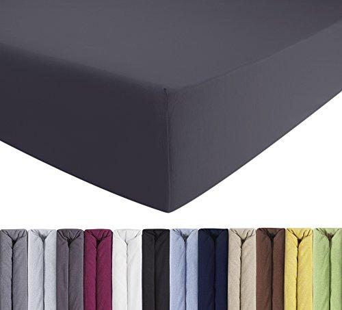 ENTSPANNO 2 x Jersey-Luxus-Spannbettlaken für Wasser- und Boxspringbett in Dunkel-Grau aus gekämmter Baumwolle Spannbetttuch mit Einlaufschutz 90 x 190 | 100 x 200-220 cm, bis 40 cm hohe Matratzen