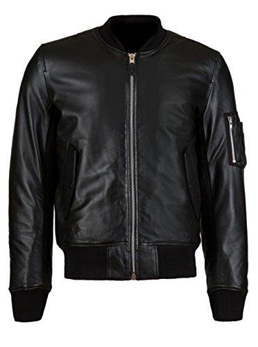 VearFit Harrington Designer Maßgeschneiderte Bomber PU Faux Black Lederjacke für Männer (Verkauf Pfeil Zum Kapuze)
