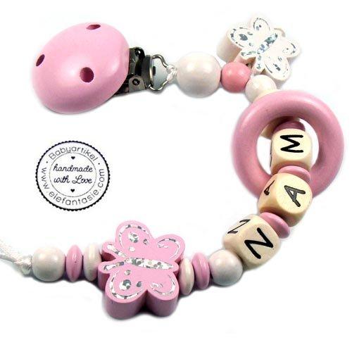 te mit Namen HOLZ Modell Schmetterling Glitzer rosa (Personalisierte Schmetterling)