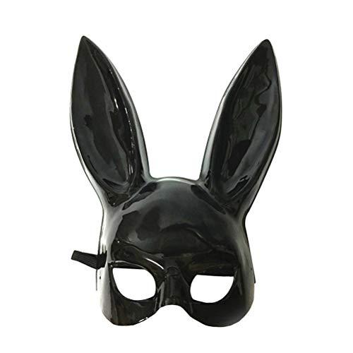 LUOEM Erwachsene Bunny Maske Frauen Masquerade Kaninchen Maske Bunny Rabbit Maske für Geburtstagsfeier Ostern Halloween Bar Kostüm Cosplay Zubehör (Bright Black) (Black Rabbit Halloween)