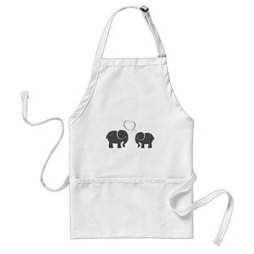 Unisex cute trendy Elephants in love poliestere grembiule con cinghia regolabile e tasche, 53,3cm da 88,9cm