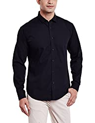 V Dot by Van Heusen Mens Casual Shirt (8907485111318_VDSF516E05302_Black_40)