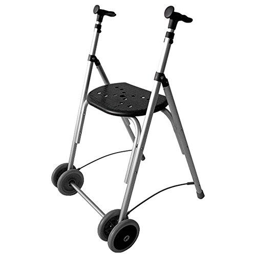 Klappbarer Rollator für Senioren aus Aluminium | verstellbare Höhe | super leicht | Farbe: Schwarz