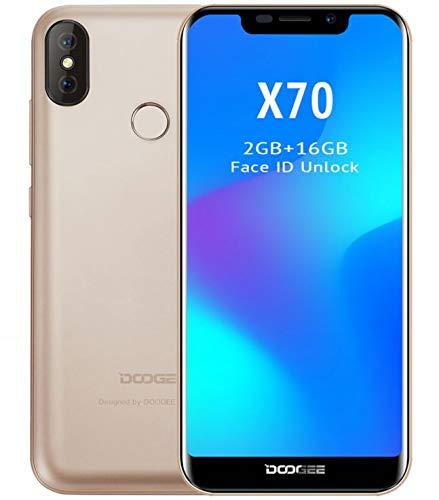 DOOGEE X70 -Smartphone in 5,5 Zoll U-Kerbe-Bildschirm (19:9 Bildseitenverhältnis), Android 8.0 SIM-Freie Handy, 4000mAh Akku, Dual-Rückseitige Kameras, Gesichtserkennung+ Fingerabdruck,Quad-Kern 2GB+16GB - GOLD