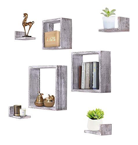 Pared rústica montado en la Forma Cuadrada imitó estantes flotantes - Conjunto de 7-3 estantes Cuadrados y 4 estantes rústicos Forma de rectángulo - Tornillos y Anclajes incluidos - Blanco