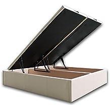 Ventadecolchones Canapé Gran Capacidad modelo Lisboa tapizado en polipiel Blanco y costura en hilo Blanco medidas 200 x 200 cm (2 und 100 x 200)