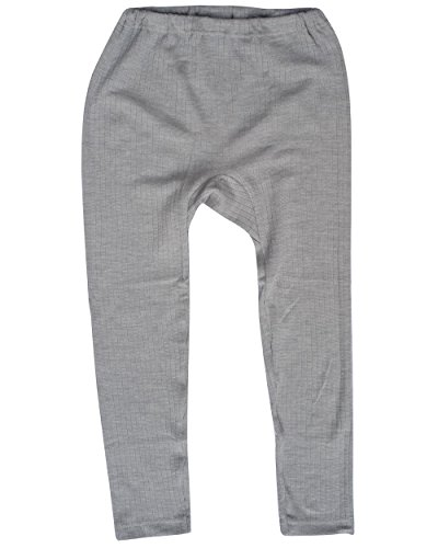 Cosilana, Kinder Leggings/Lange Unterhose, 45% KBA Baumwolle, 35% kbT Wolle, 20% Seide (116, Grau Meliert) -