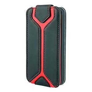 Étui porte-cartes à rabat façon portefeuille en cuir noir et rouge pour iPhone5S / 5 d'Aleratec