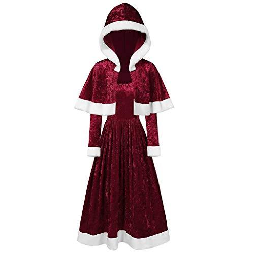 Lazzboy Frohe Weihnachten Samt Langarm O-Neck Festival Kleid Und Kapuzenumhang Weihnachtsmann Kostüm Cosplay Für Erwachsene(Wein,XL)
