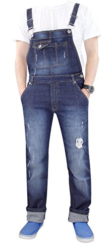 Unisex Trueface Ripped Dungaree Stone Wash Small