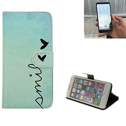 K-S-Trade® für Energizer Powermax P600S Wallet Case Schutz Hülle Flip Cover Tasche ''Smile'', türkis