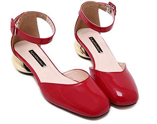 GS~LY Damenschuhe in einer Metallschnalle mit runden Kopf Schuhe Black
