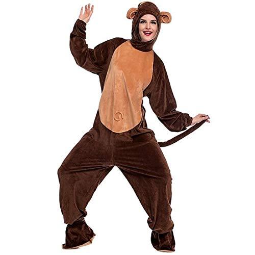 DUKUNKUN Erwachsene AFFE Pyjama Kostüm Pleuche Brown Cosplay Für Tier Nachtwäsche Cartoon Halloween - Regenbogen Affe Kostüm