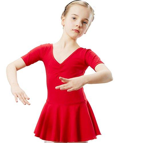 Wgwioo ballett tanz mädchen kleid kindergarten kurzarm ethnisch latein kinder prinzessin leistung kostüme party kinder bühne gymnastik praxis match kleidung , red , (Kostüme Ethnische Halloween)