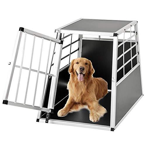 Froadp Alu Hundebox Hundetransportbox Reisebox Transportbox Gitterbox mit 1-Türig für Haustier(65x90x69cm)