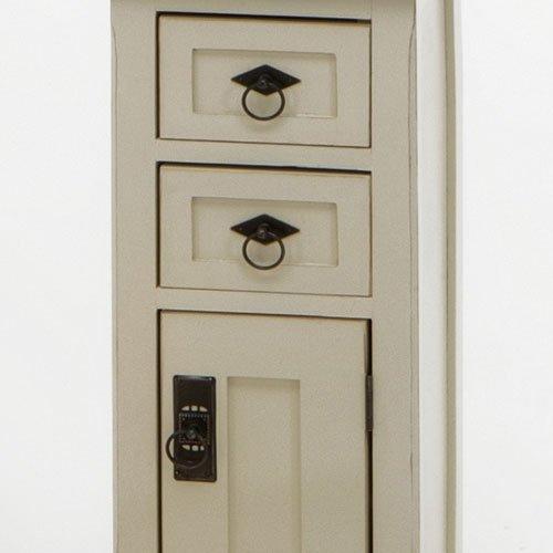 Konsole mit Tür aus Massivholz cremefarbig/kolonialfarbig, B/H/T ca. 30/82,5/30 cm - 2