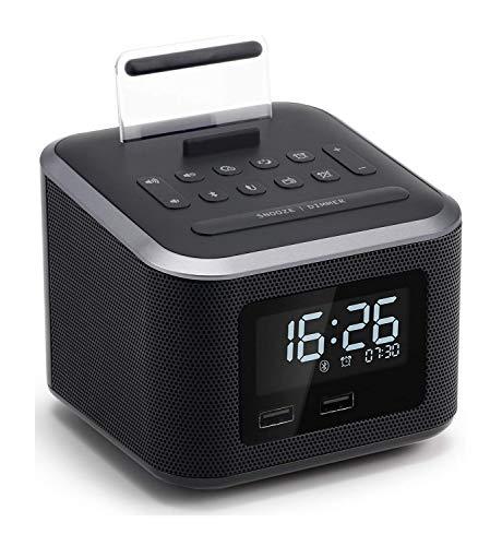 LHXHL-Radiowecker, Kabelloser Bluetooth-Lautsprecher, Digitaler Wecker, USB-Ladegerät mit UKW-Radio/AUX-Eingang und Handyhalter/Dimm- / Schlummerfunktion/Ersatzakku-Funktion - Schwarz