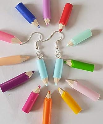 boucles d'oreilles crayon de couleur bleu pastel,cadeau ecole,cadeau maitresse,cadeau atsem
