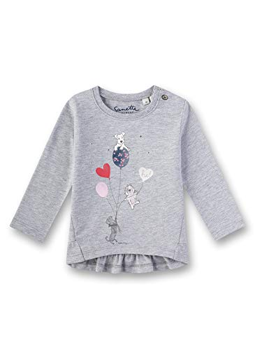 Sanetta Baby-Mädchen T-Shirt, Grau (Grey Mel. 1737), 86 (Herstellergröße: 086) -