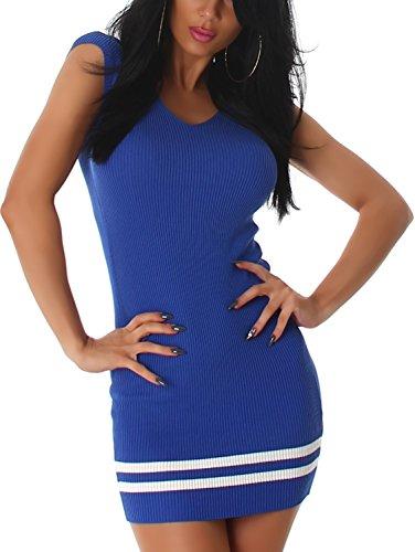 Jela London Damen Feinstrick Strickkleid Stretch Longpulli Pullikleid Feinripp-Optik Streifen-Muster (36 38) Blau No. 3