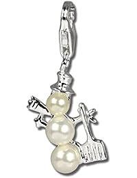 Plata de ley 925 SilberDream Charm muñeco de nieve blanco perla colgante para pulsera cadena pendientes FC246W