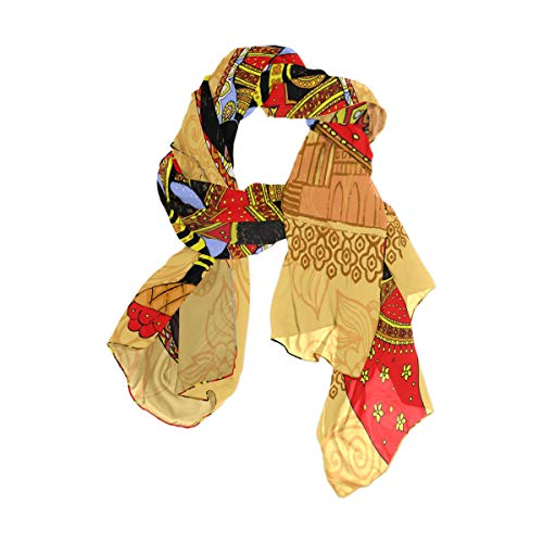 MNSRUU - Bufanda larga de seda de gasa con diseño de mandala india para mujer