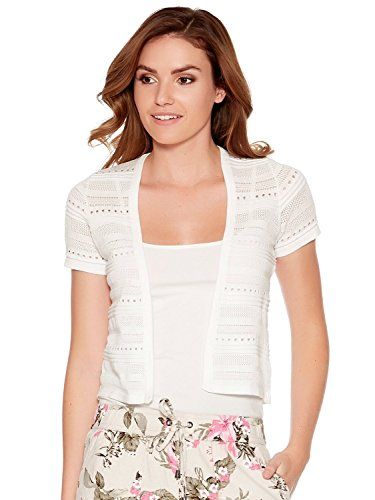 M&Co Ladies Short Sleeve Pointelle Knit Edge to Edge Shrug Cardigans