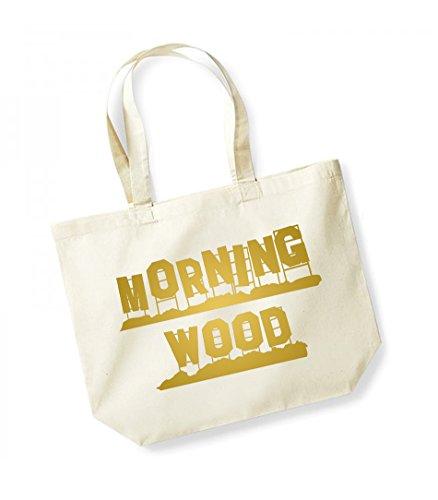 Morning Wood - Large Canvas Fun Slogan Tote Bag Natural/Gold