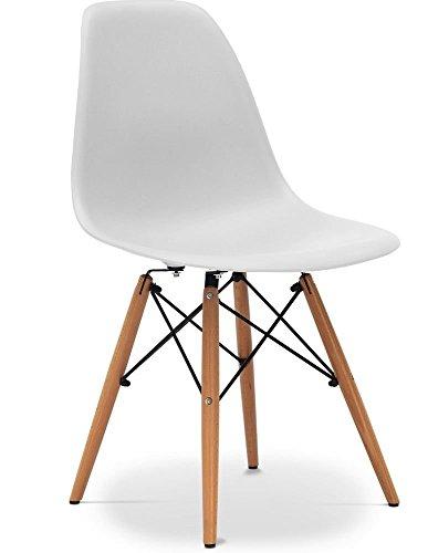 Due home (Nordik)   Pack 4 sillas tower Blanca  silla réplica eames blanco y madera de haya  medidas: 47 cm ancho x 56 cm fondo x 81 cm altura