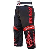 Farabi Kick Boxing Pantalones Pantalones Mix Artes Marciales Full Contact Azul Rojo Negro Adulto y niños tamaños (Negro, Grande)