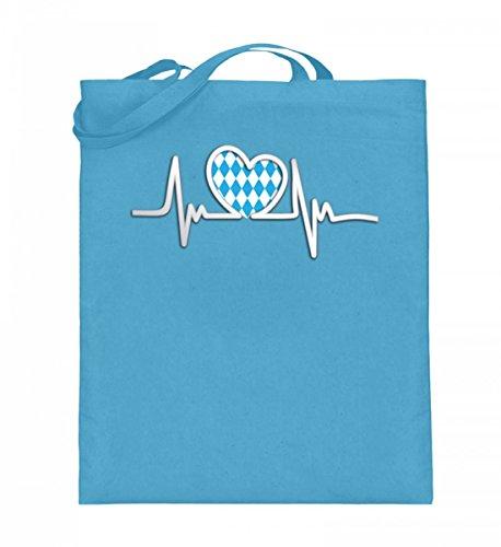 Hochwertiger Jutebeutel (mit langen Henkeln) - Herzschlag Oktoberfest (ohne Schrift) Hellblau