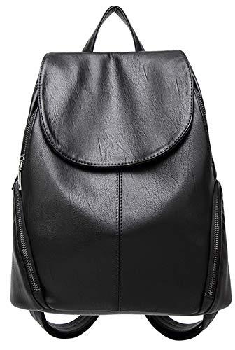 s Leder Backpack Freizeit Einfarbig Doppelnutzen Schoolbag Mode Portable Rucksack Wild Messenger Bag ()