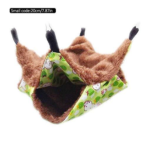 Lijuan Qin Haustier-Hängematte, warm, doppellagig, Schlafsack für Katzen, Frettchen, Kaninchen, Ratten S grün