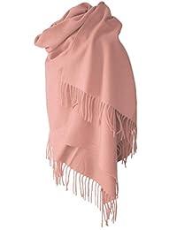 Echarpe étole chale en laine et cachemire rose pâle grande épaisse et chaude