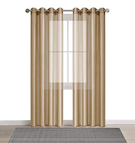 DEZENE 2er Set Faux Seide Halb-transparent Gardine mit Ösen Einfarbige Voile Tüll Durchsichtig Vorhänge Schals,Sand,140 x 260 CM