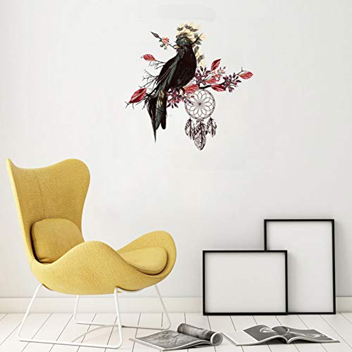 SHIFTALT Kreative Black Bird Red Leaves Wandaufkleber Wohnzimmer Schlafzimmer Dekoration Wasserdicht Removable Wallpaper Aufkleber -