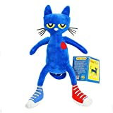 """Pete the Cat Hardcover Book & 14.5"""" Soft Plush Bedtime Puppet Doll set,Wyurhjh® Blue Amusing Stuffed Bedtime Doll with I Love My White Shoes Book Saves Christmas Doll Toys Socking Filler (Pete The Cat)"""