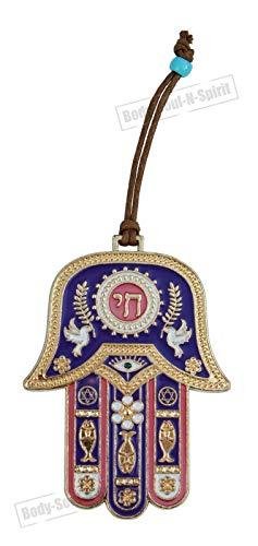 Main Hamsa tenture Violet décoration Porte-Bonheur 'HAI Judaica Kabbale DORÉ