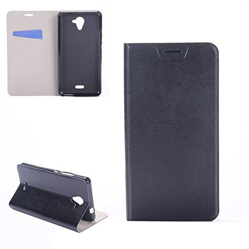 Digital Bay Hülle Wiko U Feel Fab Taschen [Flip Armor] Kartenfach [Diamant Schwarz] Doppelte Schutzschicht mit Luftpolster-Kantenschutz - Card Holder Schutzhülle, Jet Black
