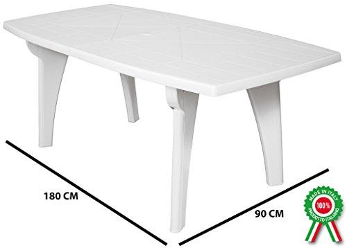 SF SAVINO FILIPPO Tavolo tavolino Rettangolare 180x90 Lipari in Dura Resina di plastica Bianco con Foro per ombrellone per Esterno casa Balcone Bar sagra da Giardino