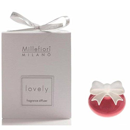 Millefiori milano lovely fiocchetto rosa violetto + ricarica 50 ml profumatore ambiente bomboniere diffusore tappo gesso (fragranza confetto)